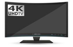 在白色背景的弯曲的4K UHD超高清晰度电视 免版税图库摄影