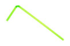 在白色背景的弯的绿色吸管 免版税库存照片