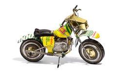在白色背景的微型摩托车模型 免版税库存照片