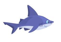 在白色背景的微笑的动画片鲨鱼 免版税库存图片