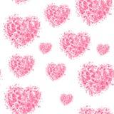 在白色背景的心脏无缝的铺磁砖的样式 对情人节,礼品包装材料纸 向量例证