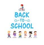 在白色背景的愉快的孩子,回到学校概念 库存例证