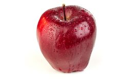 在白色背景的成熟水多的红色苹果 库存图片