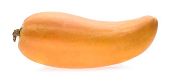 在白色背景的成熟番木瓜果子 免版税图库摄影