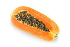 在白色背景的成熟番木瓜 免版税库存图片