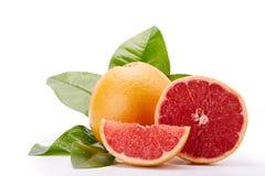 在白色背景的成熟葡萄柚 免版税库存图片