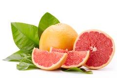 在白色背景的成熟葡萄柚 图库摄影