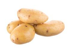在白色背景的成熟金黄土豆 素食食物 法国 图库摄影