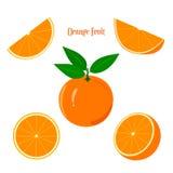 在白色背景的成熟水多的橙色果子 库存照片