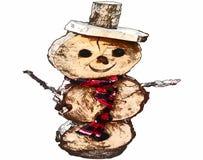 在白色背景的手拉的雪人传染媒介 库存图片