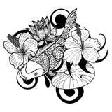 在白色背景的手拉的Koi鱼和花日本纹身花刺样式孤立 免版税库存图片
