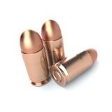 在白色背景的手枪子弹 免版税库存照片