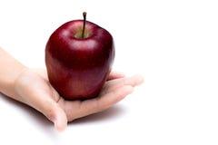 在白色背景的把柄红色苹果 免版税库存照片