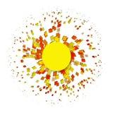 在白色背景的抽象爆炸微粒正方形 免版税库存图片