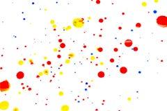 在白色背景的抽象红色水彩 颜色飞溅 库存图片