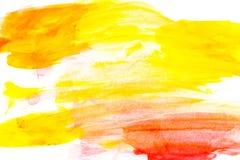 在白色背景的抽象红色水彩 颜色飞溅 库存照片