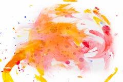 在白色背景的抽象红色水彩 颜色飞溅 免版税库存图片