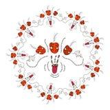 在白色背景的抽象花卉坛场在乱画样式 库存照片