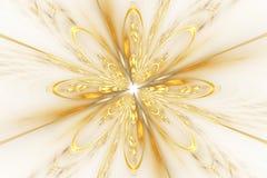 在白色背景的抽象金黄分数维花 免版税库存照片