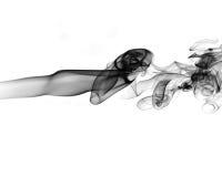 在白色背景的抽象黑烟 免版税库存图片