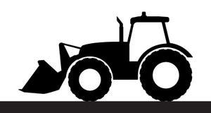 在白色背景的拖拉机剪影 免版税库存图片