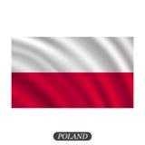 在白色背景的挥动的波兰旗子 也corel凹道例证向量 免版税库存图片