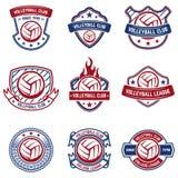 在白色背景的排球象征 设计商标的,标签,象征,标志,徽章元素 免版税库存图片