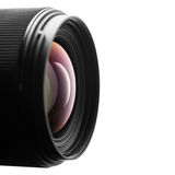 在白色背景的摄象机镜头特写镜头 免版税库存图片