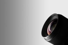 在白色背景的摄象机镜头特写镜头 库存照片