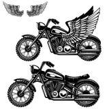 在白色背景的摩托车例证 飞过的摩托车 设计商标的,标签,象征,标志