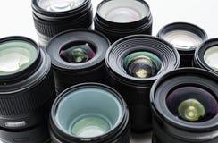 在白色背景的数字式透镜 库存图片