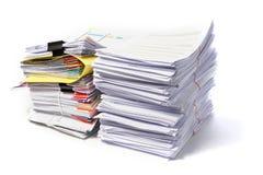 在白色背景的文件 免版税库存照片