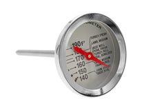 在白色背景的新的肉温度计 库存图片