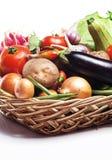 在白色背景的新鲜的健康菜 免版税库存照片