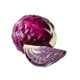 在白色背景的新鲜的红叶卷心菜菜 库存图片