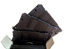 在白色背景的新,黑磁盘 免版税库存图片