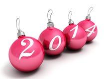 在白色背景的新年好2014红色圣诞节球 免版税库存照片