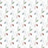 在白色背景的无缝的叶子样式 免版税库存照片
