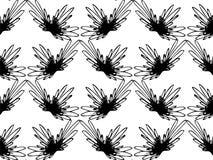在白色背景的无缝的抽象黑花卉样式 专属装饰适用于纺织品,织品和包装 免版税库存图片