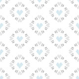 在白色背景的无缝的样式心脏瓦片 免版税库存照片