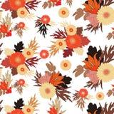 在白色背景的无缝的秋天花纹花样 秋天花 库存照片