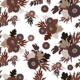 在白色背景的无缝的花纹花样 花和叶子 免版税图库摄影