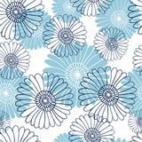 在白色背景的无缝的花纹花样 蓝色花 图库摄影