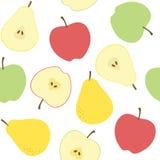 在白色背景的无缝的苹果和梨样式 免版税库存照片