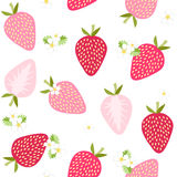 在白色背景的无缝的草莓样式 免版税库存照片