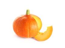 在白色背景的日本橙色南瓜 库存照片