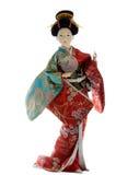 在白色背景的日本艺妓玩偶 免版税库存照片