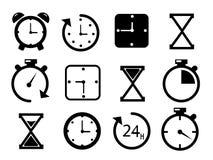 在白色背景的时间和时钟象 库存照片