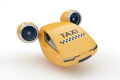 在白色背景的明确出租汽车飞行 免版税库存图片