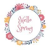 在白色背景的春天花卉圈子框架设计
